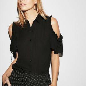 Express Tie Sleeve Cold Shoulder Button-Up Shirt